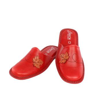 Γυναικείες δερμάτινες παντόφλες Fall κόκκινο χρώμα