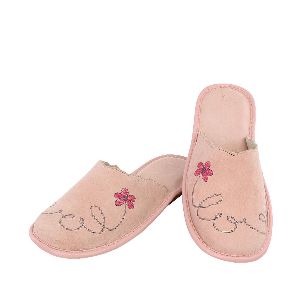 Γυναικείες καστόρινες παντόφλες Love ροζ χρώμα