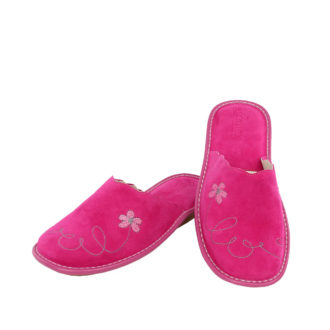Women's suede slippers Love fuchsia color