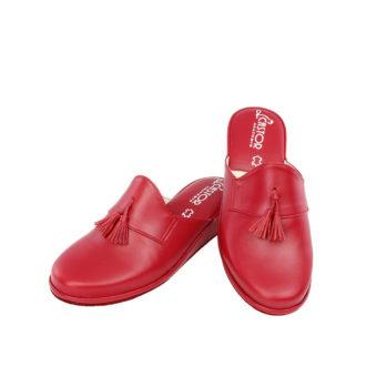 Γυναικείες δερμάτινες παντόφλες Ιόλη κόκκινο χρώμα