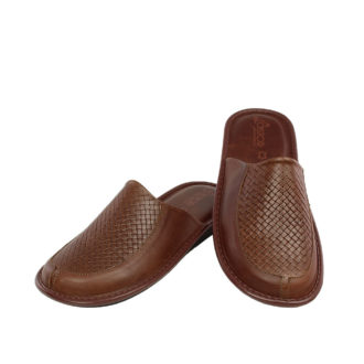 Men's leather slippers Aimos brown color