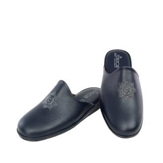Men's leather slippers Aris blue color