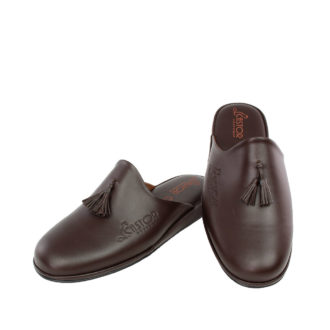 Men's leather slippers Antinoos brown color