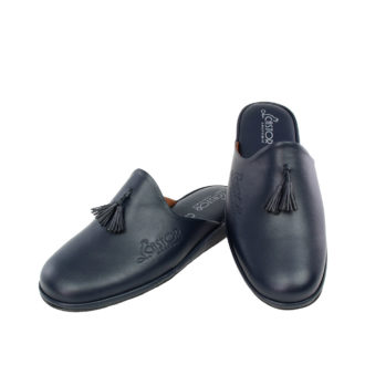 Men's leather slippers Antinoos blue color