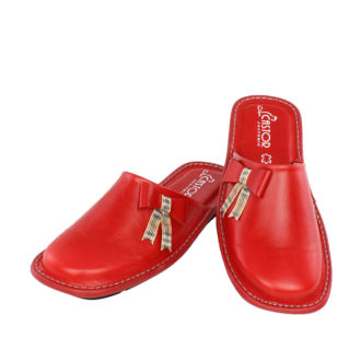 Γυναικείες δερμάτινες παντόφλες Iώ κόκκινο χρώμα
