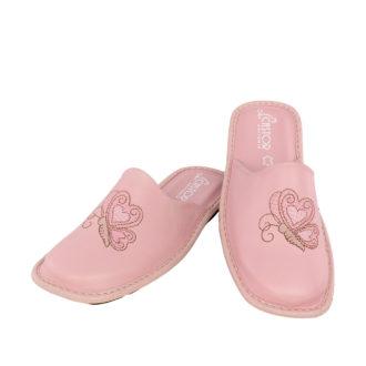 Γυναικείες δερμάτινες παντόφλες Ίρις ρόζ χρώμα