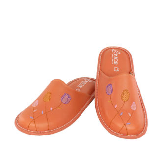 Γυναικείες δερμάτινες παντόφλες Τουλίπα πορτοκαλί χρώμα