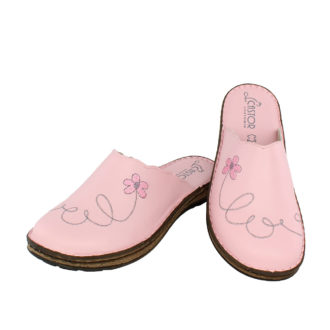 Γυναικείες δερμάτινες παντόφλες Άνοιξη ροζ χρώμα