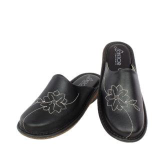Γυναικείες δερμάτινες παντόφλες Fleur μαύρο χρώμα