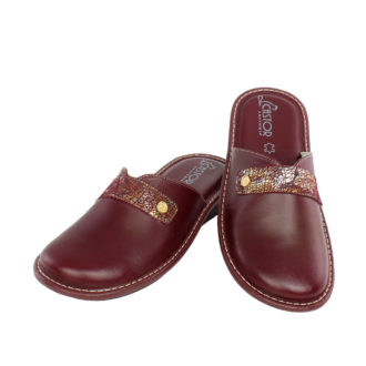 Women's leather slippers Flora deep red