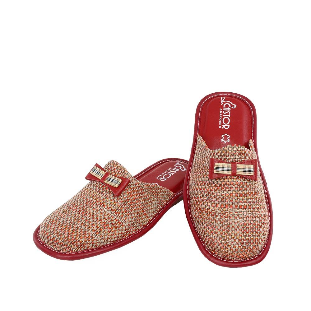 Γυναικείες παντόφλες Αίγλη κόκκινο χρώμα