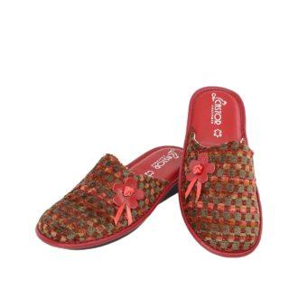 Γυναικείες παντόφλες Άβα κόκκινο χρώμα