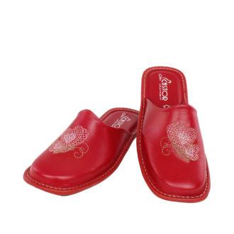 Γυναικείες δερμάτινες παντόφλες Ίρις κόκκινο χρώμα