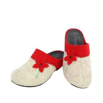 Γυναικείες παντόφλες Γιασεμί κόκκινο χρώμα