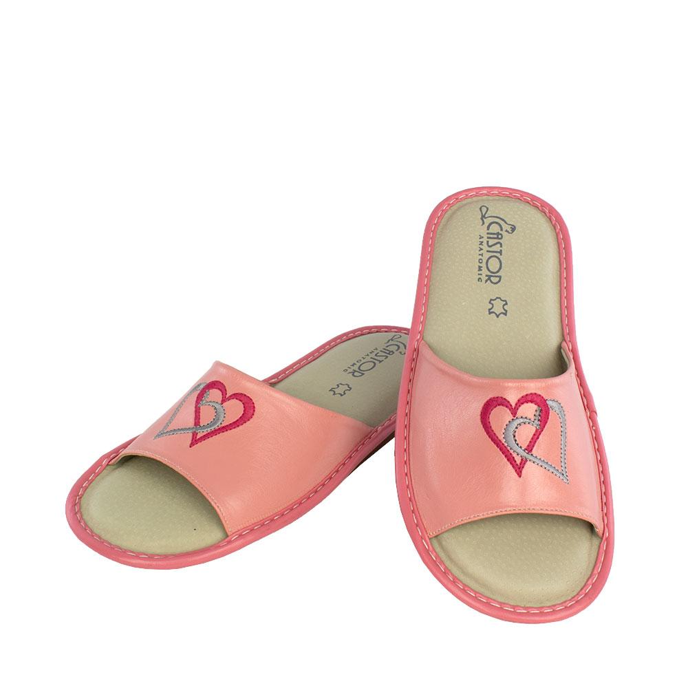 Γυναικείες δερμάτινες παντόφλες 5651 ροζ χρώμα
