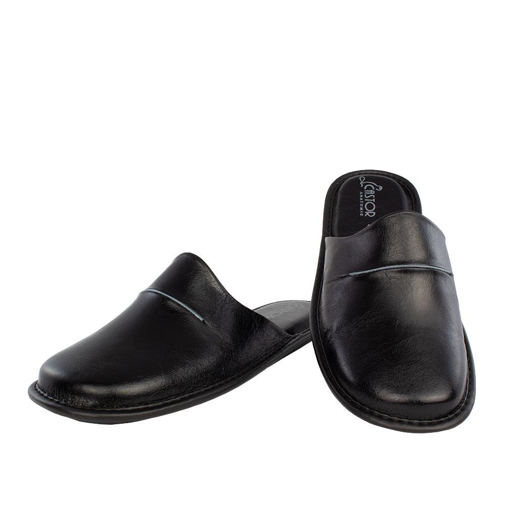Men's leather slippers Orpheus  black color