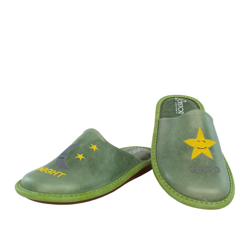 Γυναικείες δερμάτινες παντόφλες Αλία πράσινο χρώμα