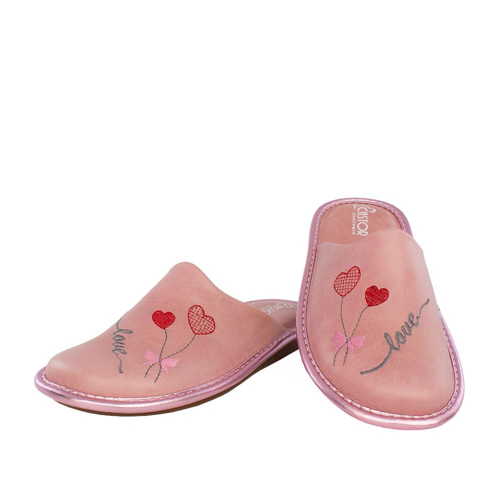 Γυναικείες δερμάτινες παντόφλες Άνθεια ροζ χρώμα