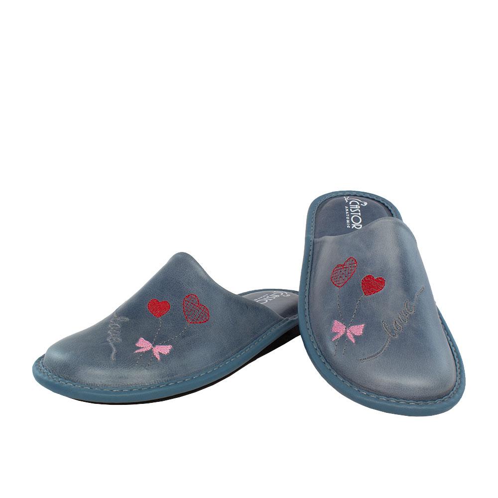 Γυναικείες δερμάτινες παντόφλες Άνθεια τζιν χρώμα