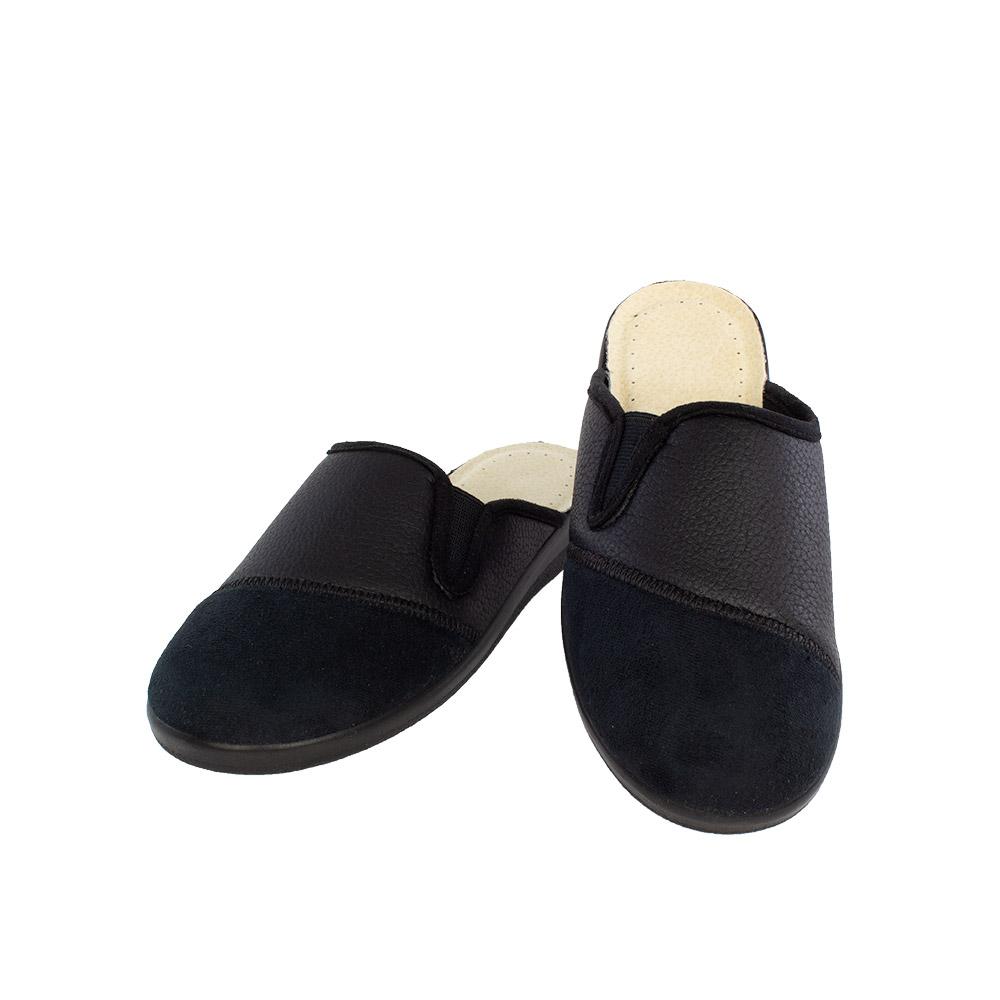 Ανδρικές υφασμάτινες παντόφλες Χάρης μαύρο χρώμα
