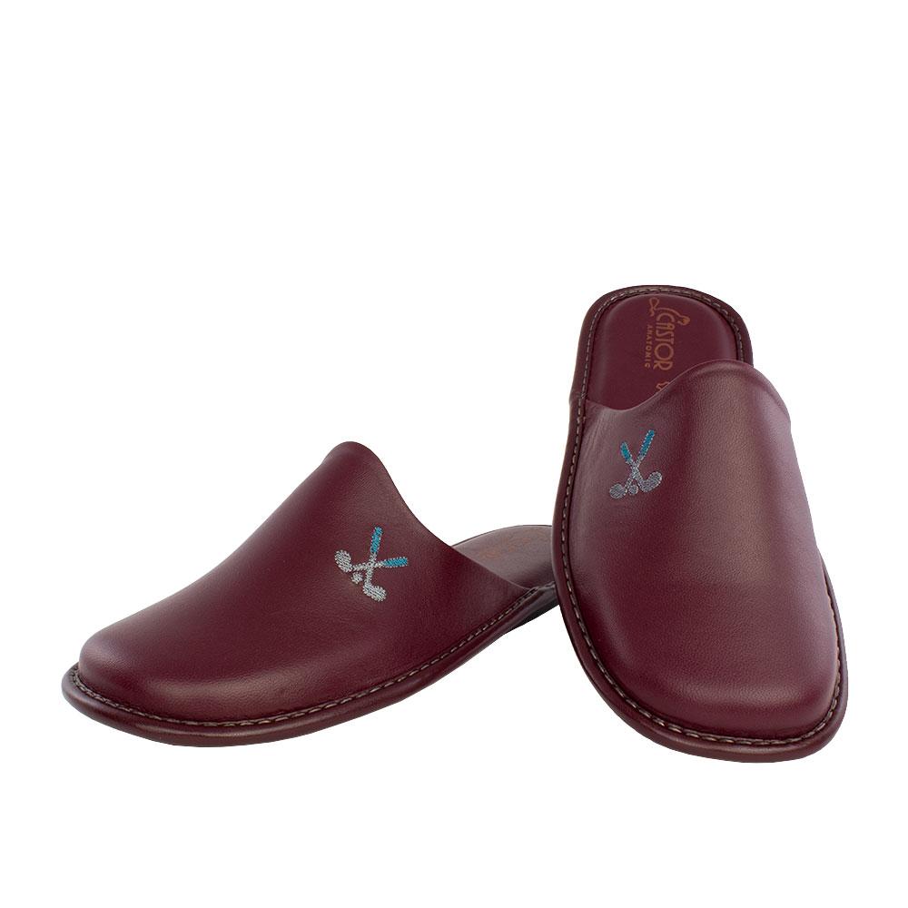 Ανδρικές δερμάτινες παντόφλες Golf μπορντό χρώμα