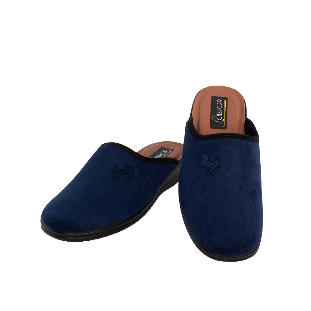 Ανδρικές υφασμάτινες παντόφλες Κρίτων μπλε χρώμα