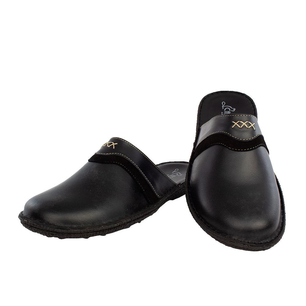 Ανδρικές δερμάτινες παντόφλες Φέρης μαύρο χρώμα