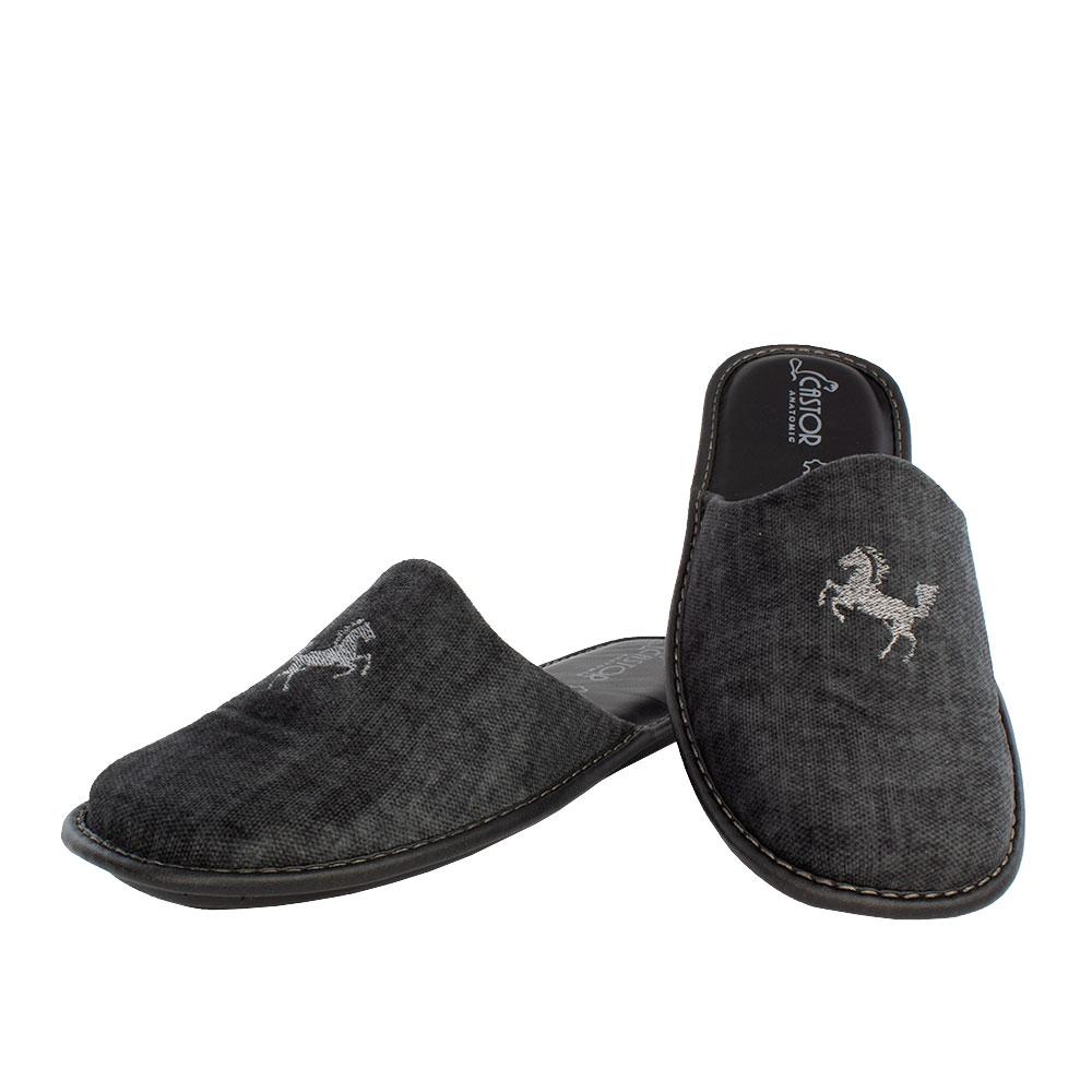 Ανδρικές παντόφλες Ίππος μαύρο χρώμα