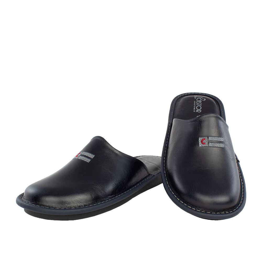 Men's leather slippers Dryas blue color