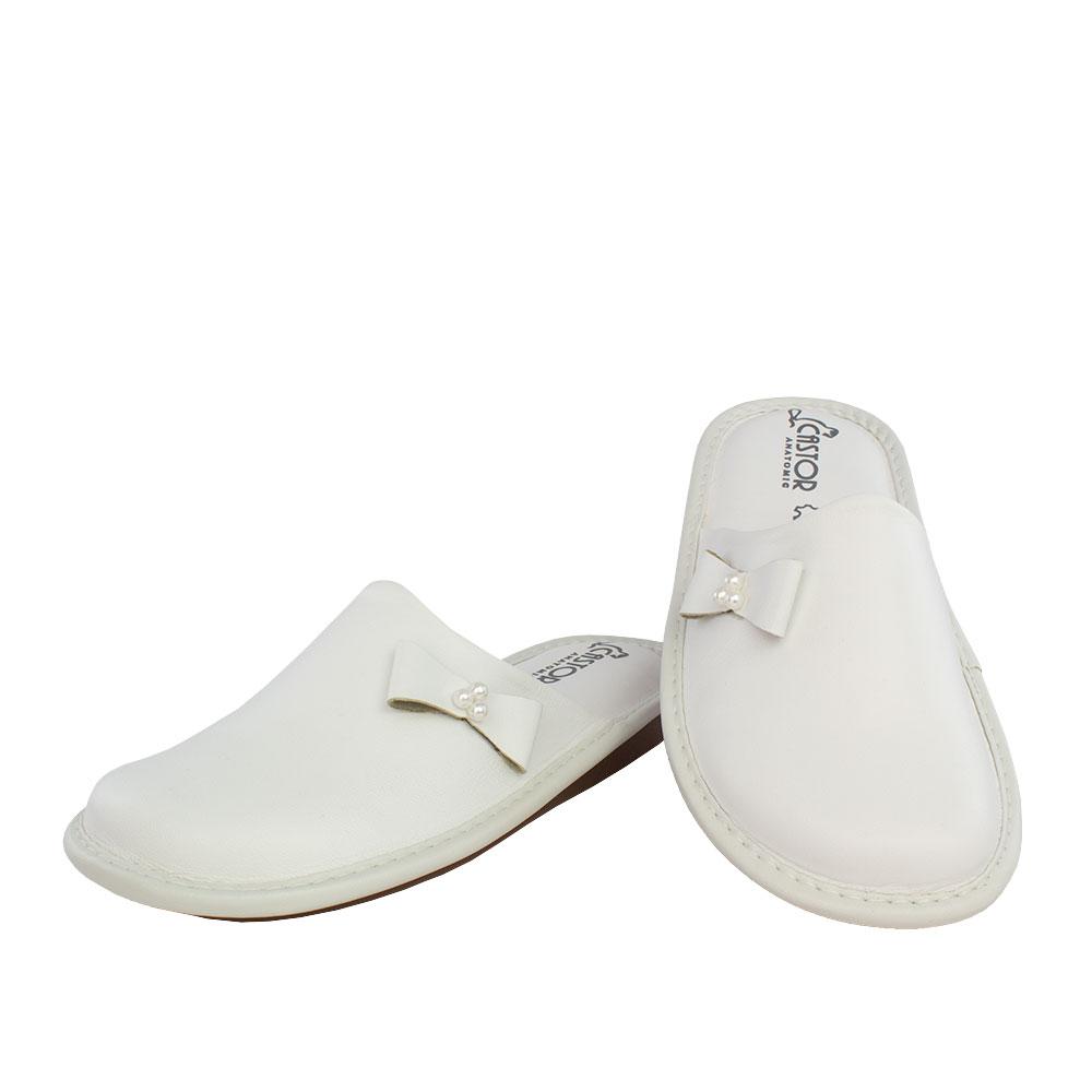 Γυναικείες δερμάτινες παντόφλες Ασία λευκό χρώμα