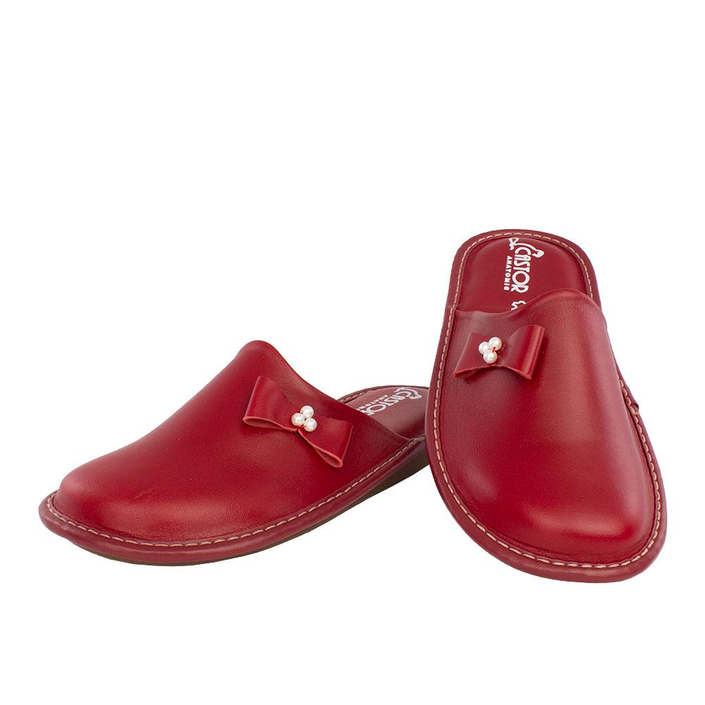Γυναικείες δερμάτινες παντόφλες Ασία κόκκινο χρώμα