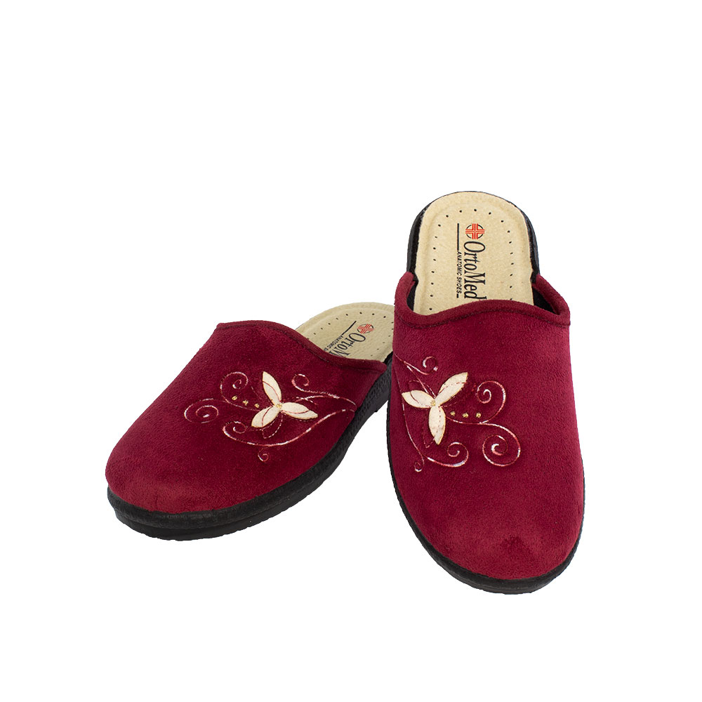 Women's fabric slippers Agathi deep red