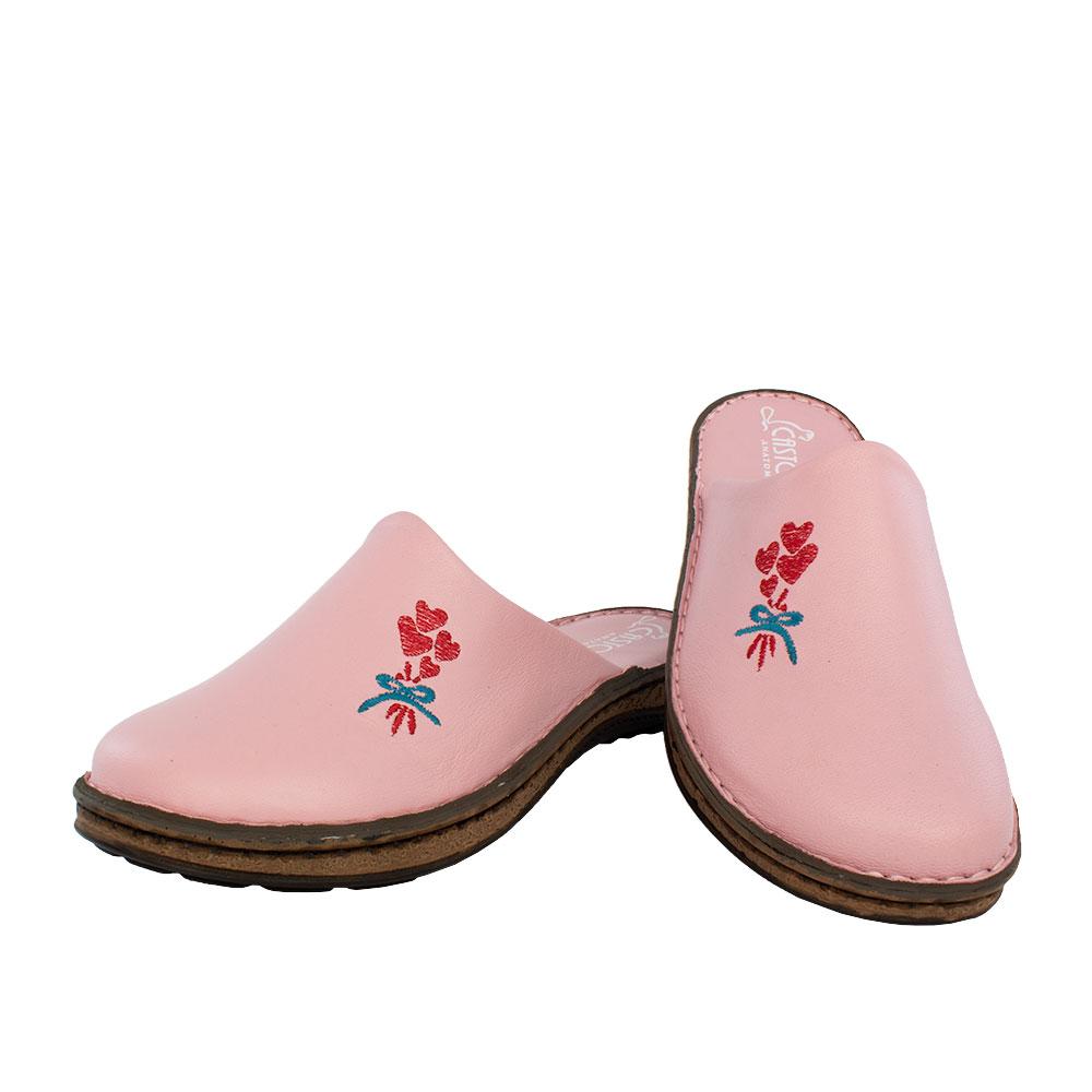 Γυναικείες δερμάτινες παντόφλες Δάφνη ροζ χρώμα