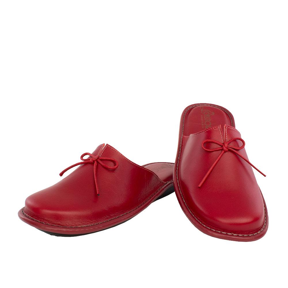 Γυναικείες δερμάτινες παντόφλες Αθηνά κόκκινο χρώμα
