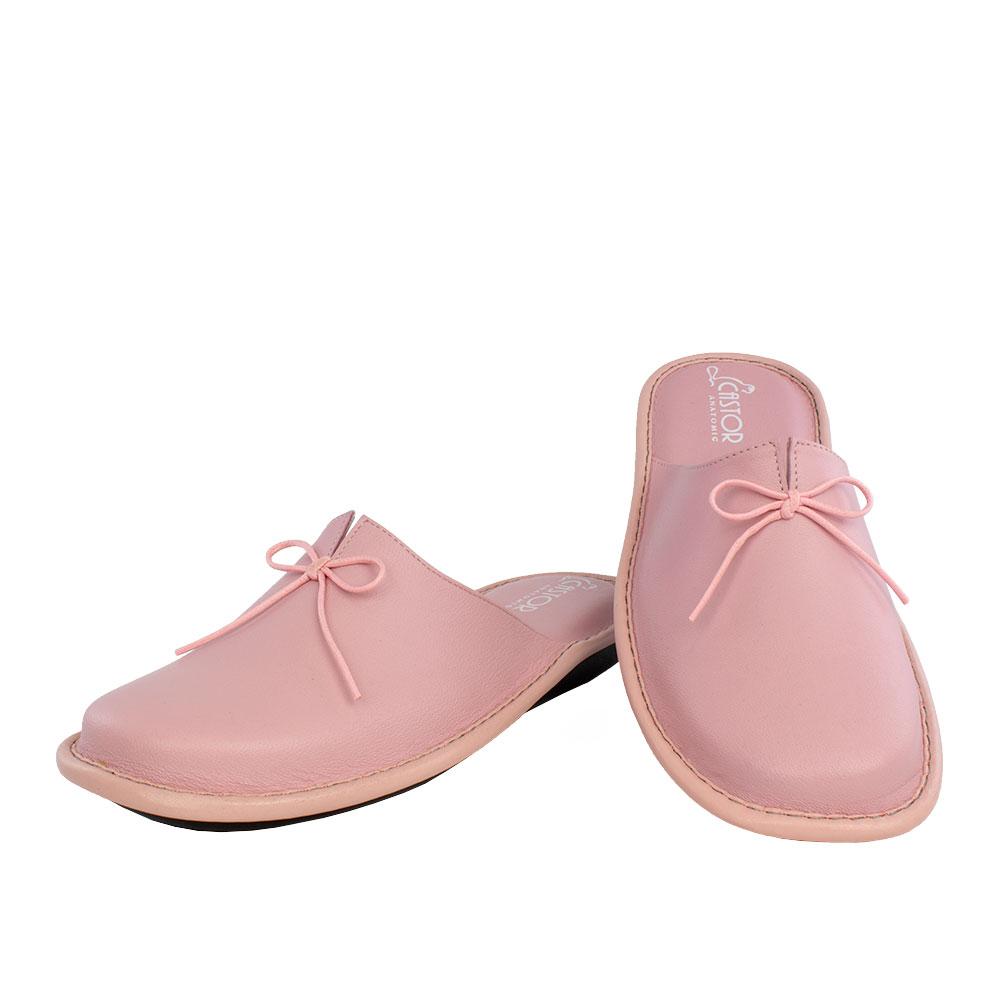 Γυναικείες δερμάτινες παντόφλες Αθηνά ροζ χρώμα