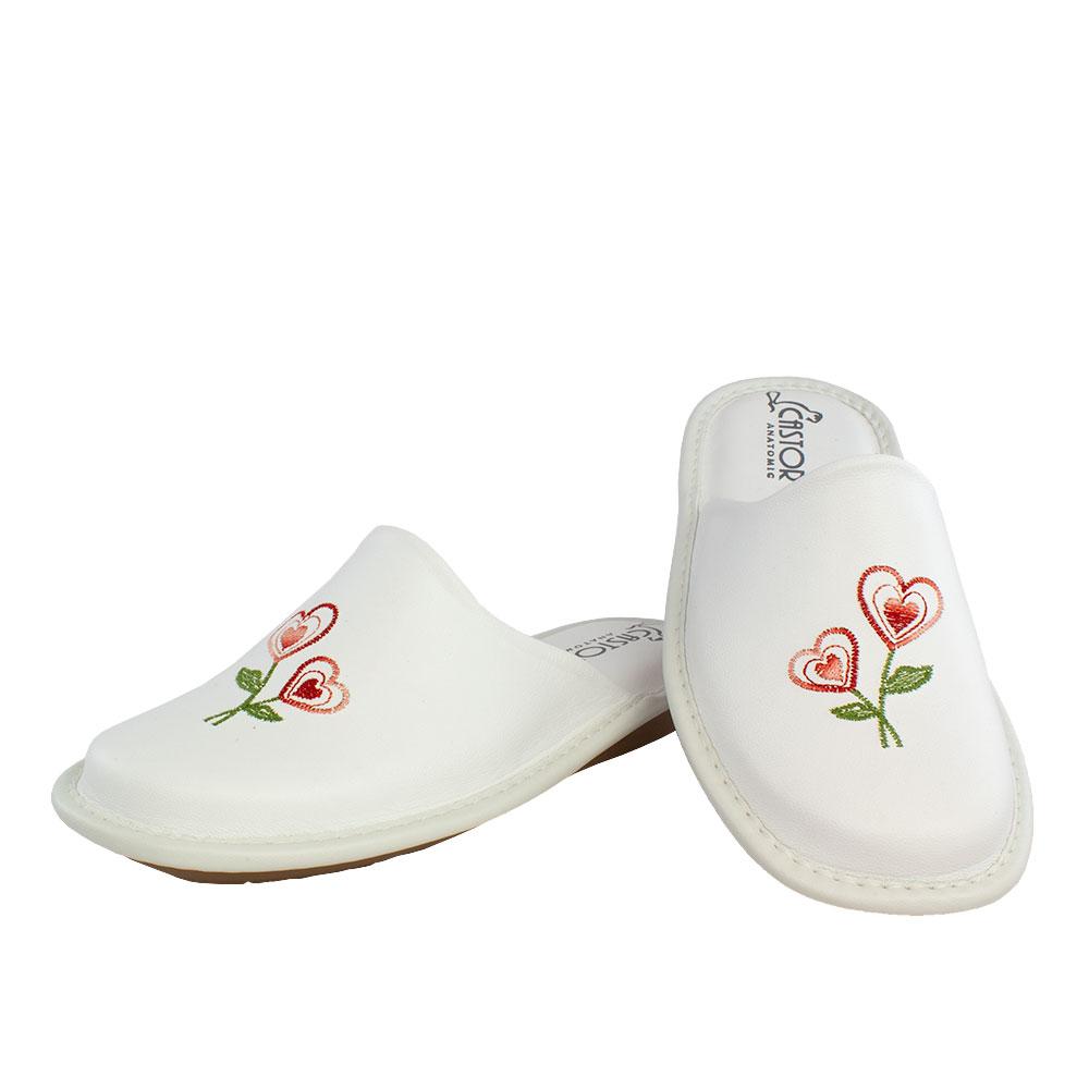 Γυναικείες δερμάτινες παντόφλες Δαίρα λευκό χρώμα