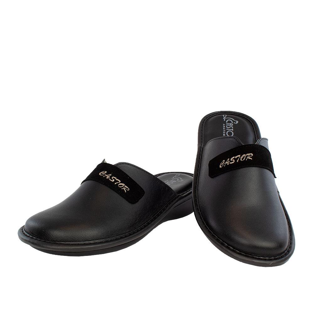 Γυναικείες δερμάτινες παντόφλες Ηπιόνη μαύρο χρώμα