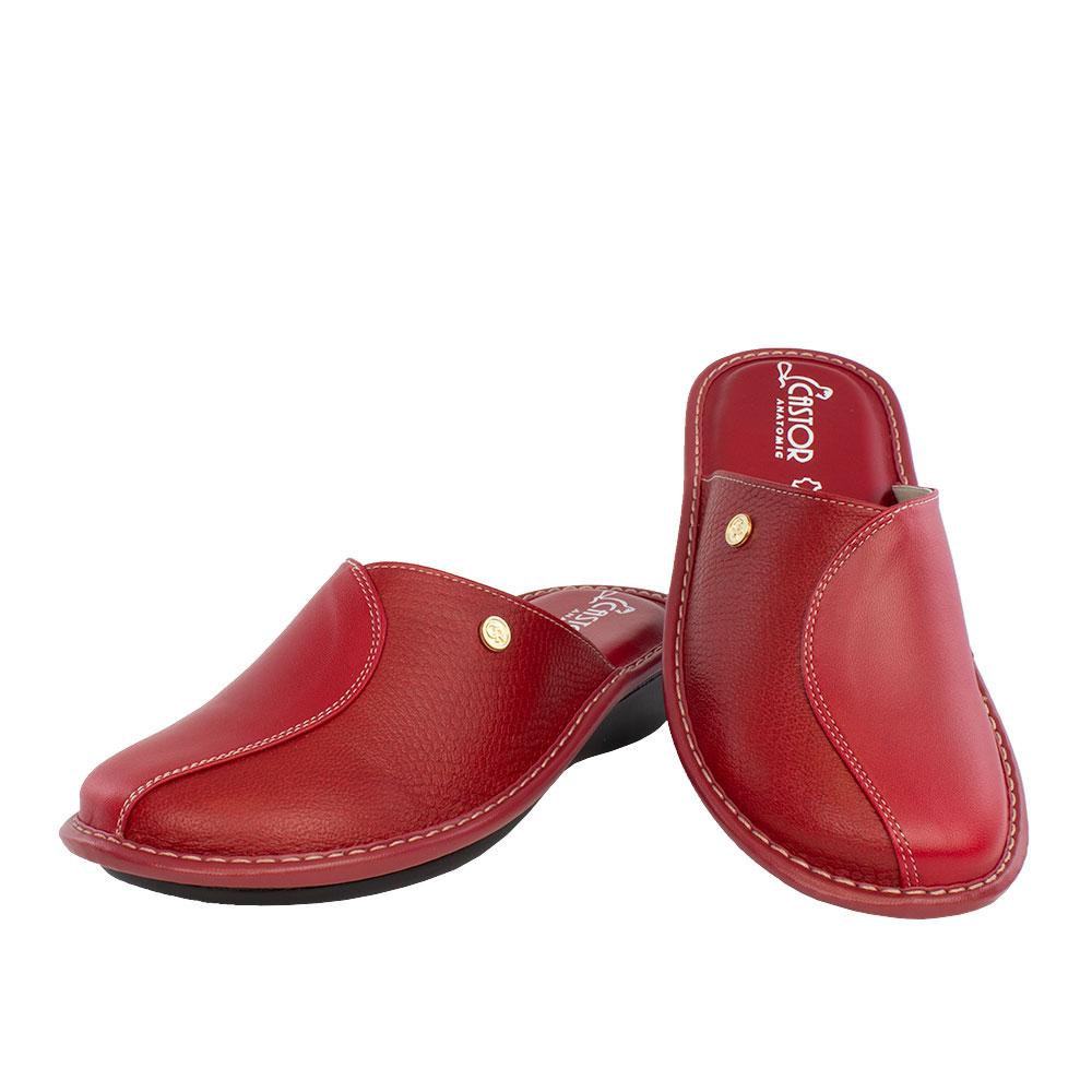 Γυναικείες δερμάτινες παντόφλες Εκάβη κόκκινο