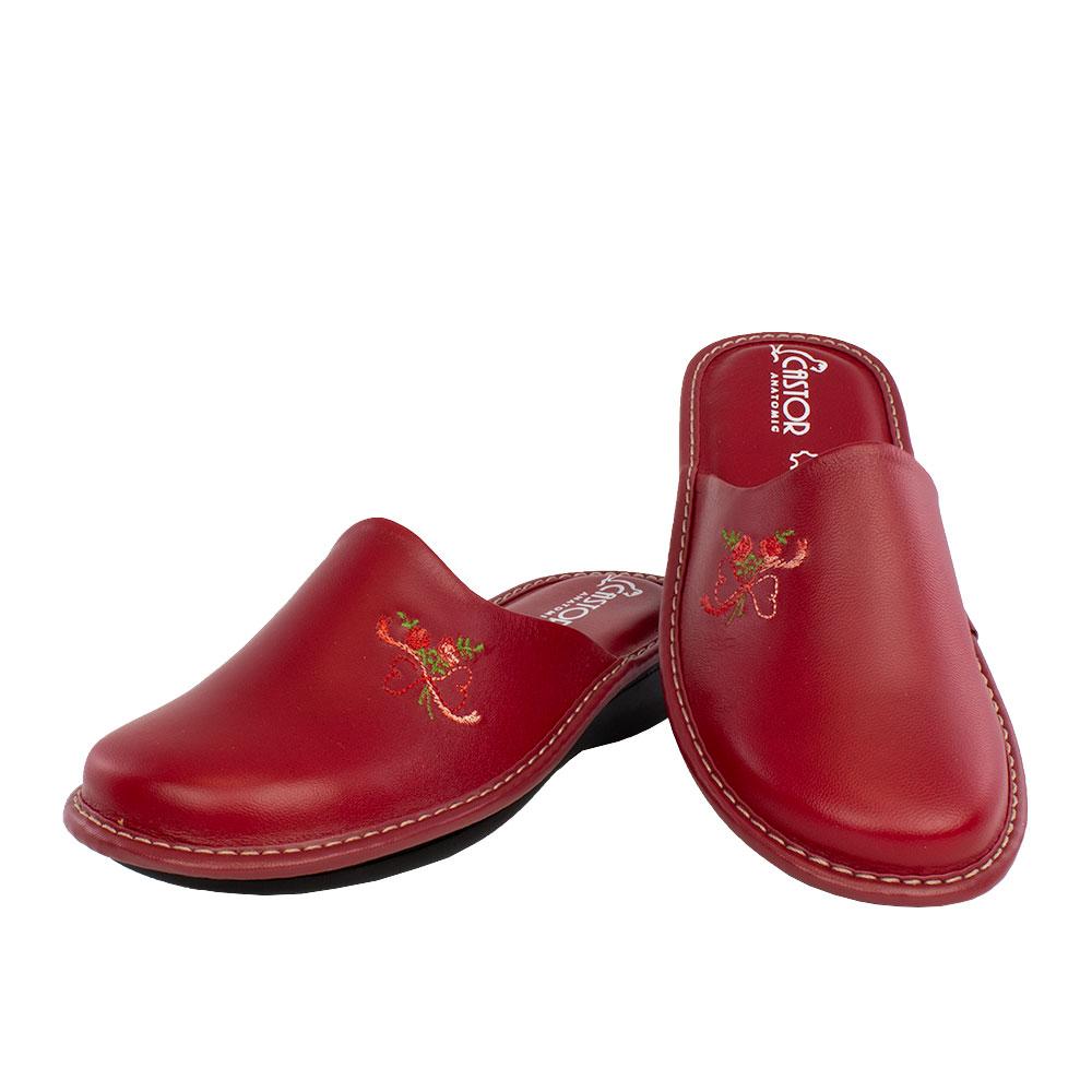 Γυναικείες δερμάτινες παντόφλες Διάνα κόκκινο χρώμα