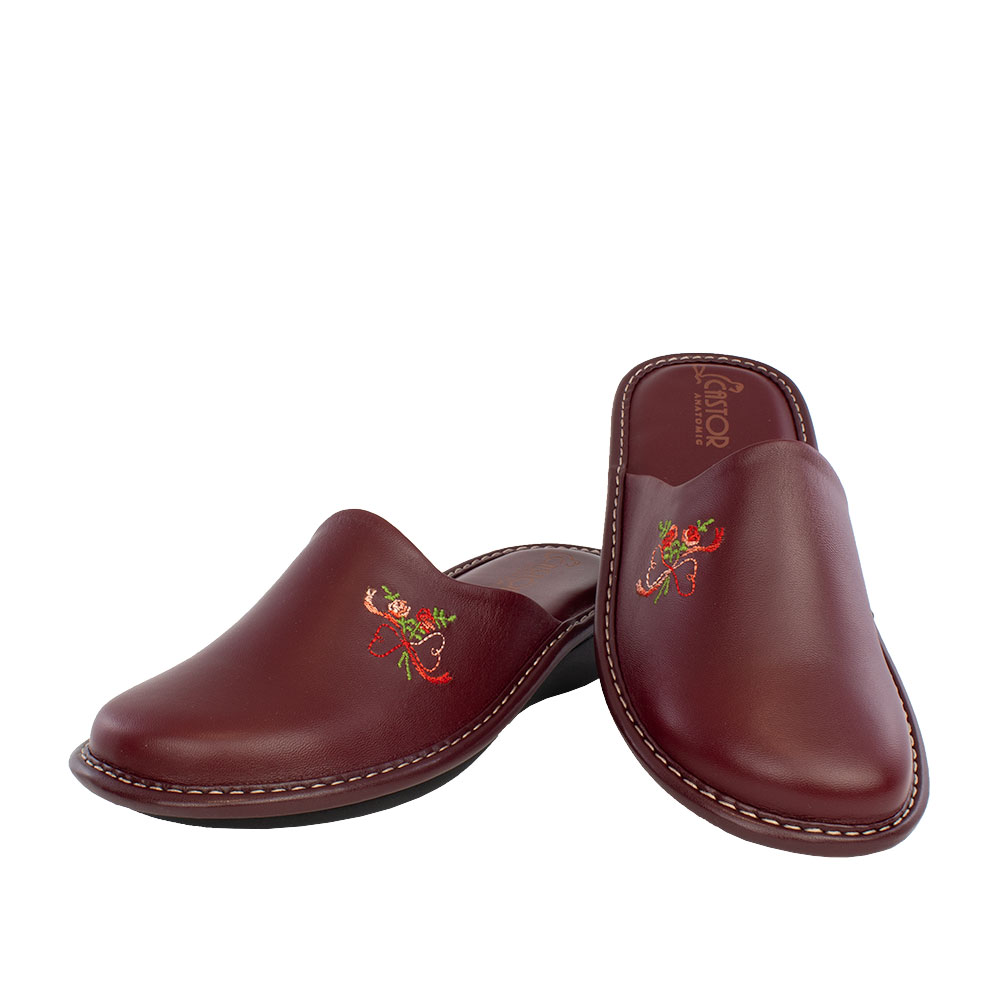 Women's leather slippers Diana deep red color