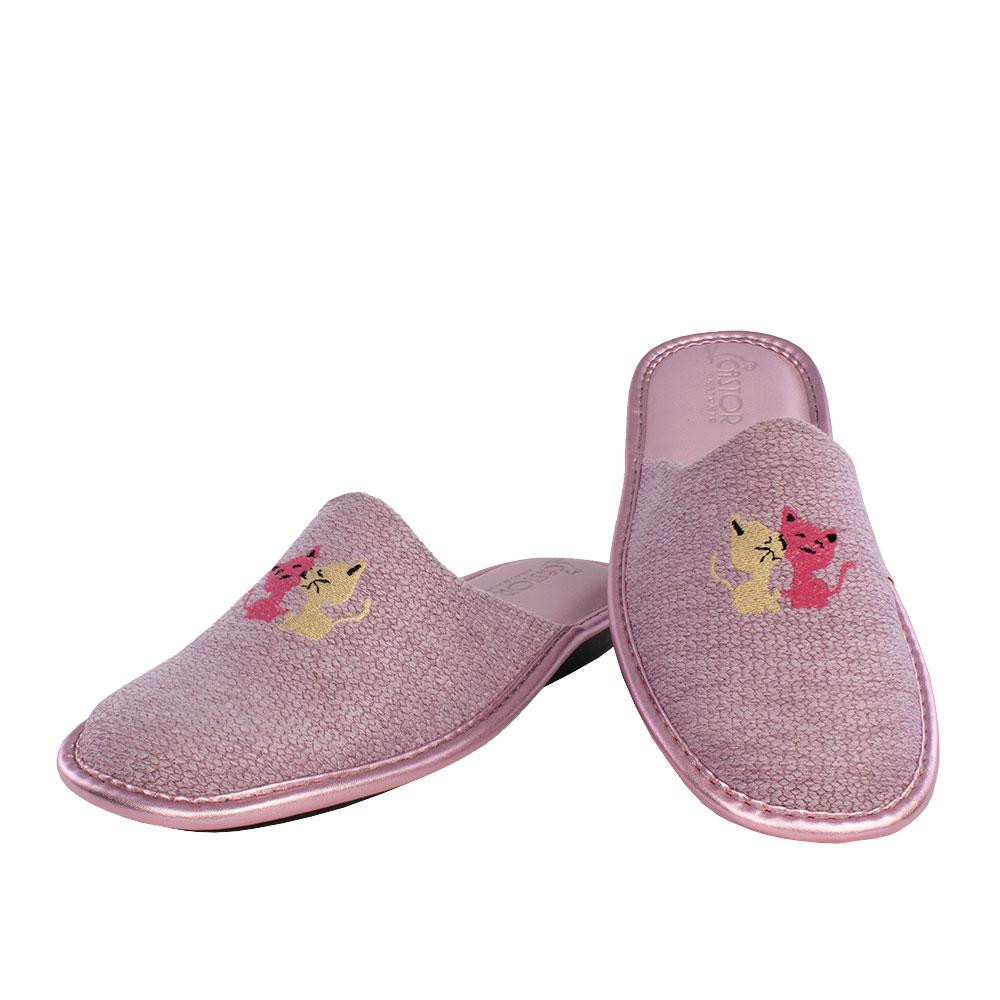 Γυναικείες παντόφλες Έλλη ροζ χρώμα