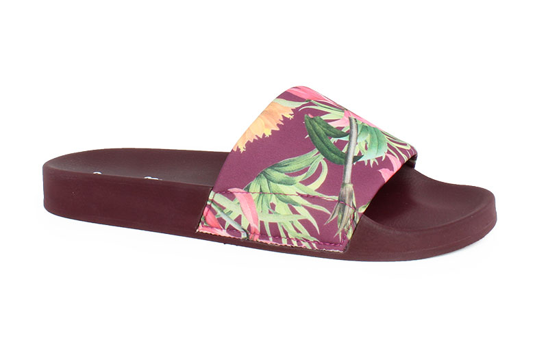 Women's slippers Tropical deep red color
