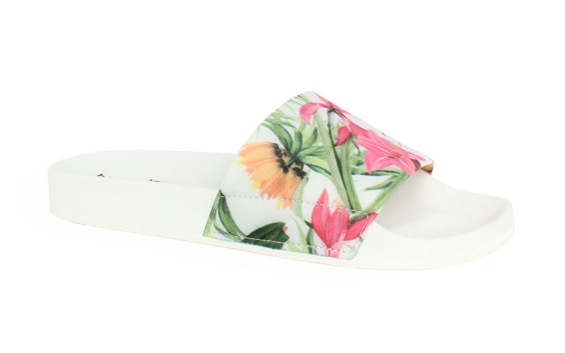Women's slippers Tropical white color