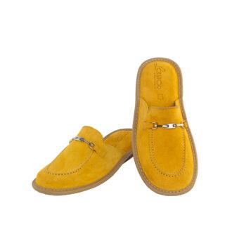 Γυναικείες δερμάτινες παντόφλες 1063 Διδώ κίτρινο