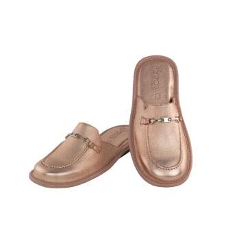 Γυναικείες δερμάτινες παντόφλες 1063 Διδώ ροζ χρυσό