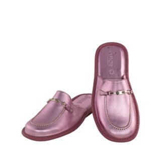 Γυναικείες δερμάτινες παντόφλες 1063 Διδώ ροζ χρώμα
