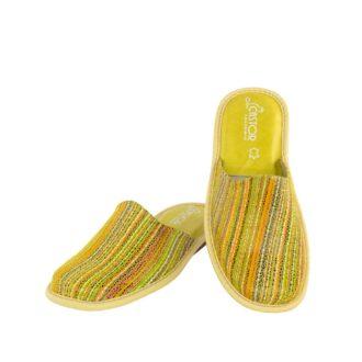 Γυναικείες δερμάτινες παντόφλες 3906 Αρμονία κίτρινο