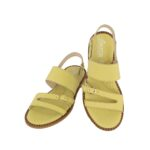 Γυναικεία δερμάτινα σανδάλια 13011 κίτρινο χρώμα