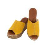Γυναικείες δερμάτινες πλατφόρμες 19002 κίτρινο χρώμα